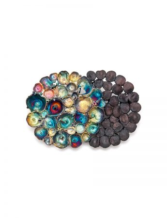 Medium Double Circle Brooch - Rainbow and Black