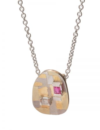 Remembered Terrain Pendant Necklace - Ruby & Diamond