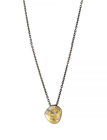 Shadowed Terrain Oval Pendant Necklace - Diamonds