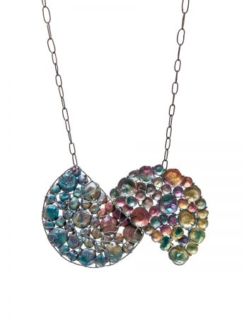 Split Cage & Open Circle Rainbow Necklace - Large