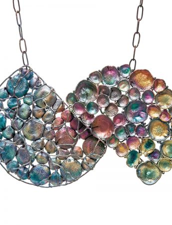 Split Cage & Open Circle Rainbow Necklace – Large