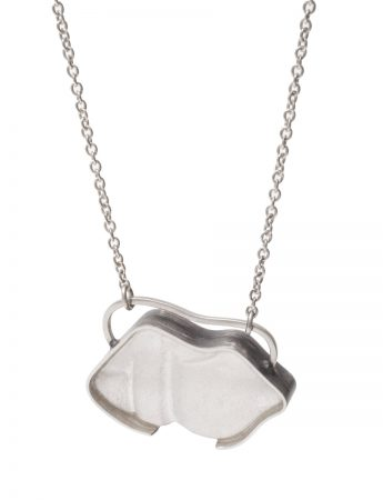 White Lips Beach Glass Pendant Necklace