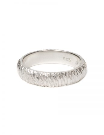 Extra Wide Mini Facet Ring - Silver