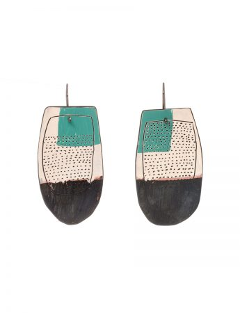 Reversible Apron Earrings - White, Teal & Watermelon