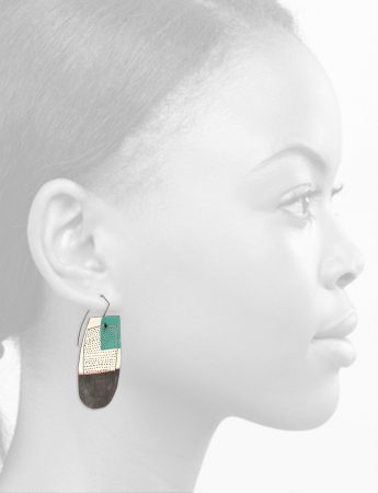 Reversible Apron Earrings – White, Teal & Watermelon