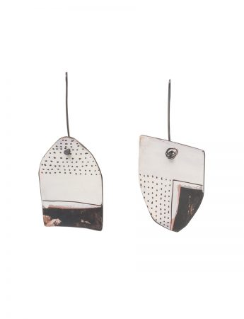 Reversible Apron Earrings - White & Salmon