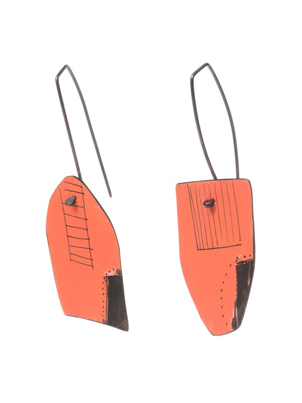 Reversible Apron Earrings – White & Salmon
