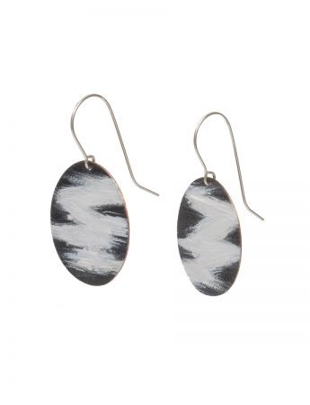 Round Landline Earrings - Black & White