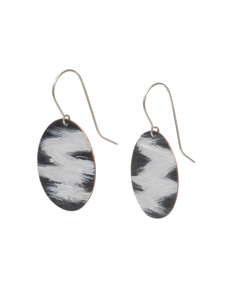 Round Landline Earrings – Black & White