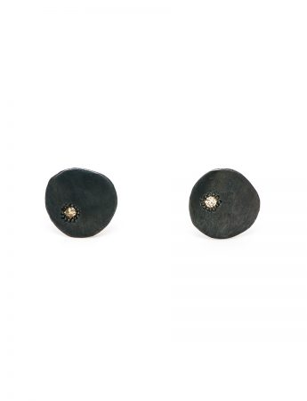 Blackened Neru Mini Disc Stud Earrings - Diamonds