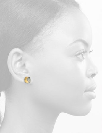Cup Stud Earring - Yellow & Grey