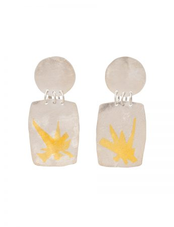 Disc and Rectangle Earrings - Silver & Gold