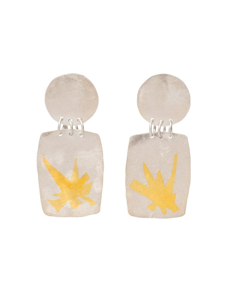 Large Disc and Rectangle Earrings – Silver & Gold