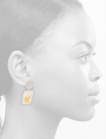 Disc and Rectangle Earrings – Silver & Gold