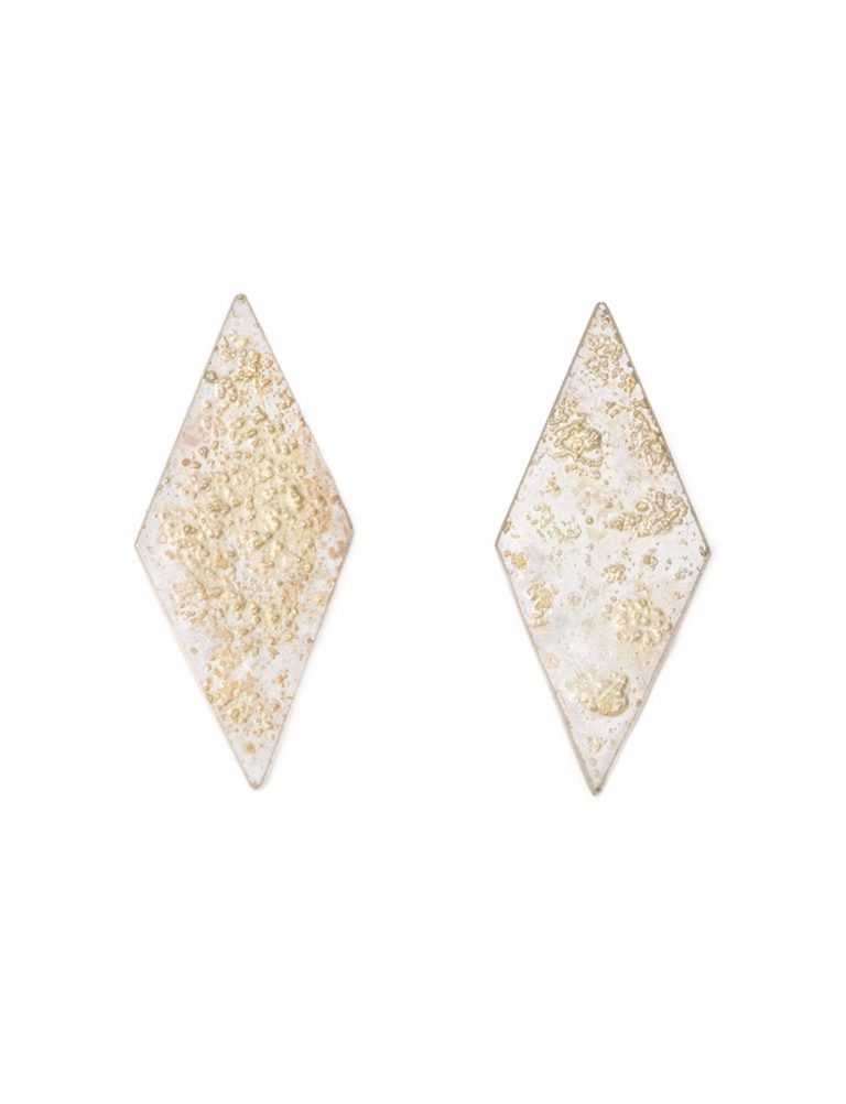 Galaxy Rhombus Stud Earrings – Silver & Gold