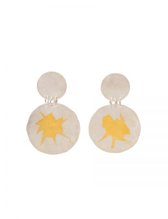 Large Double Disc Earrings - Silver & Gold