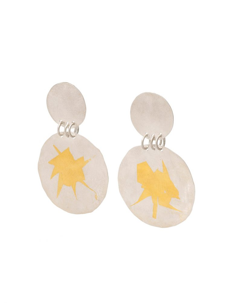 Large Double Disc Earrings – Silver & Gold