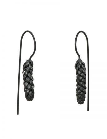Long Norfolk Pine Hook Earrings - Blackened Silver