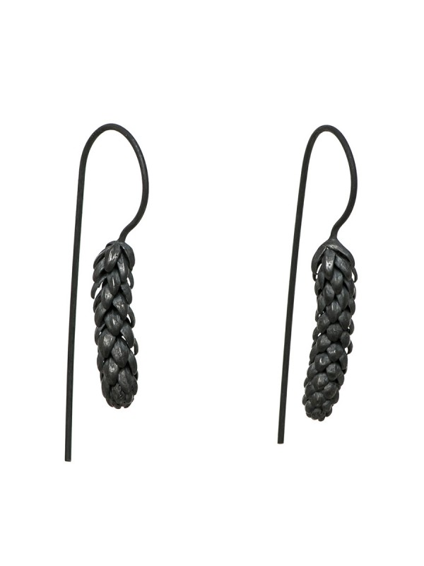 Long Norfolk Pine Hook Earrings – Blackened Silver