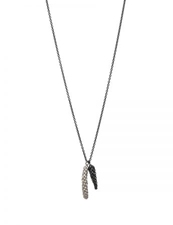 Norfolk Pine Double Drop Pendant Necklace - Black & Silver