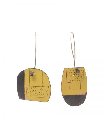 Reversible Apron Earrings - Yellow & Watermelon