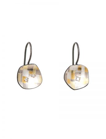 Shadowed Terrain Hook Earrings - Diamonds