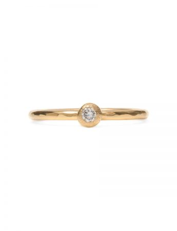 Frosted Orb Diamond Ring - Yellow Gold