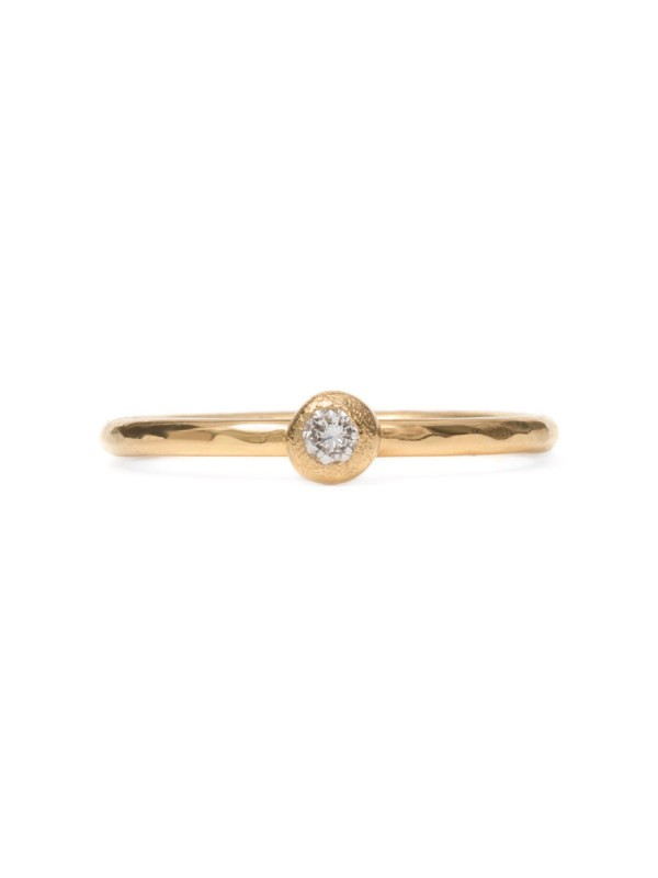 Frosted Orb Diamond Ring – Yellow Gold