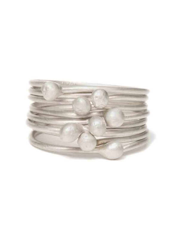 Petits Pois Eight Stack Ring – Silver