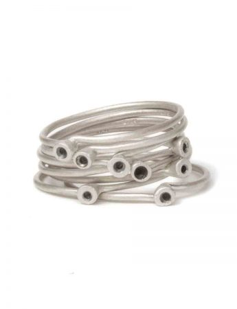 Petits Pois Trou Eight Stack Ring - Silver