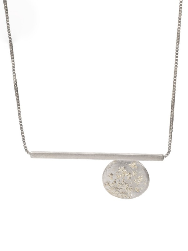 Galaxy Circle & Line Necklace – Silver & Gold