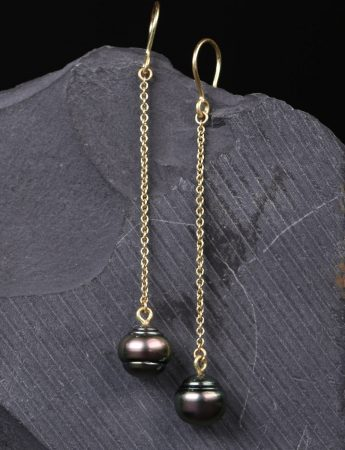 Chain Drop Earrings - Tahitian Pearl