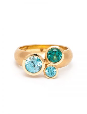 Clover Ring - Tourmaline & Aquamarine
