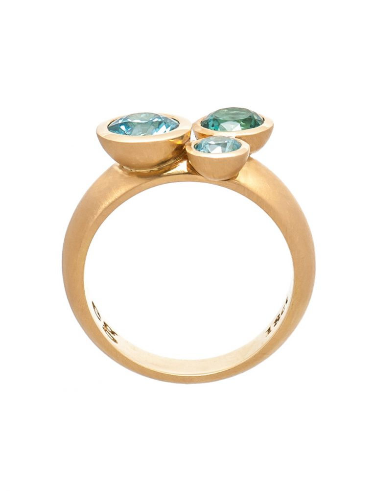 Clover Ring – Tourmaline & Aquamarine