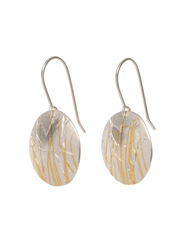 Cockatoo and Branch Earrings – Silver & Gold