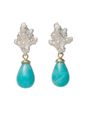 Coral Stud Earrings - Amazonite