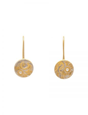Flower Print Hook Earrings - Yellow Gold Plate & Diamond