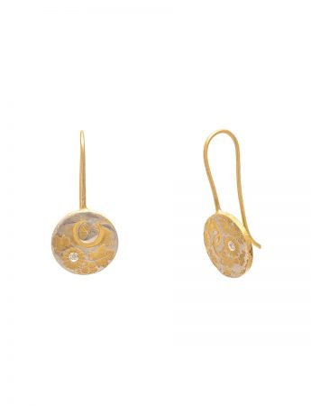 Flower Print Hook Earrings – Yellow Gold Plate & Diamond