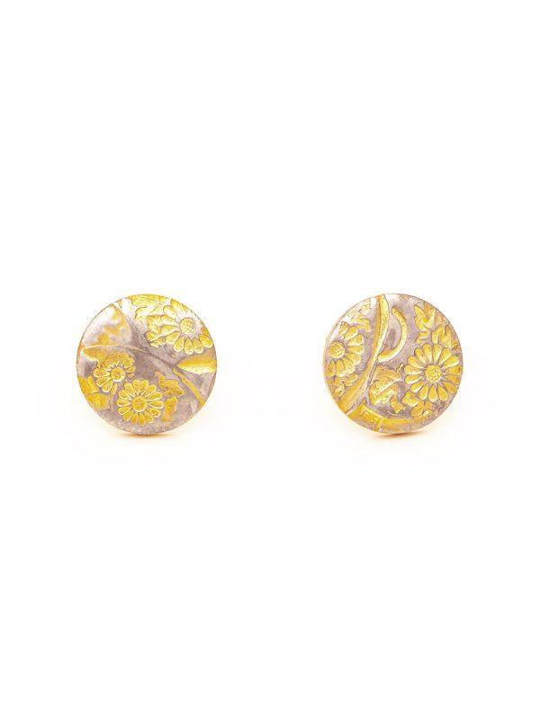 Flowers Stud Earrings – Yellow Gold Plate