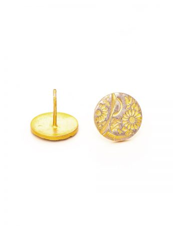 Flowers Stud Earrings - Yellow Gold Plate