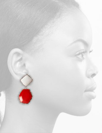Hexagon Earrings – Red & White