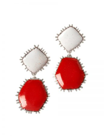 Hexagon Earrings - Red & White