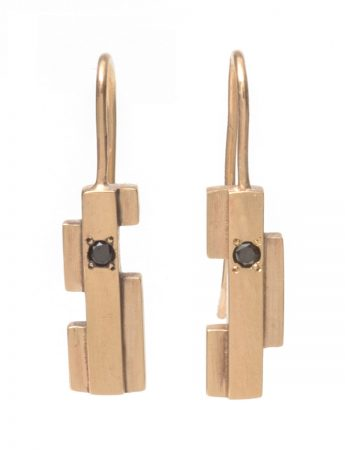 Intervals Hook Earrings - Gold & Black Diamonds