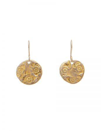 Large Flower Hook Earrings - Yellow Gold Plate
