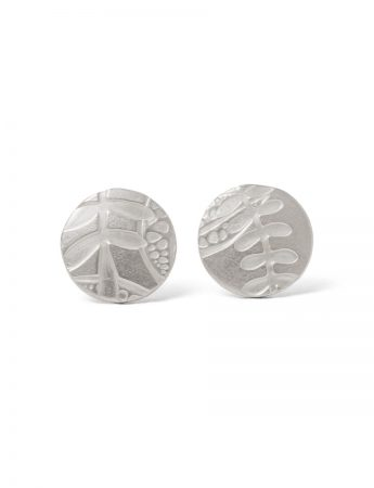 Leaf Imprint Stud Earrings - Silver