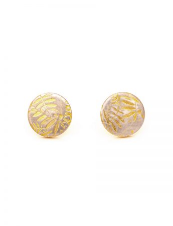Leaves Stud Earrings - Yellow Gold Plate
