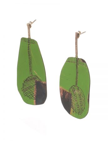 Long Apron Earrings - Green