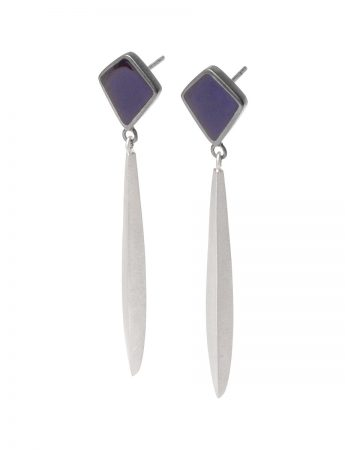 Long Drop Dark Night Earrings - Dark Blue