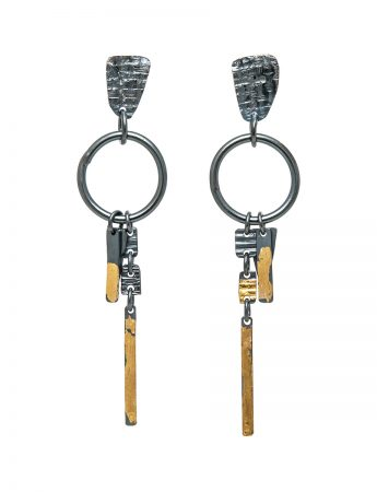 Long Ramshackled Earrings - Black & Gold