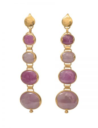 Malabar Long Drop Ruby Earrings - Gold